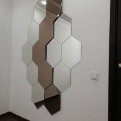 Зеркальное панно в виде сот в 2 цветах