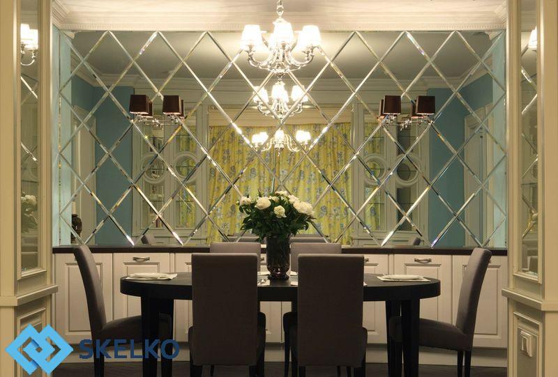 Зеркальное панно в интерьере ресторанов и кафе