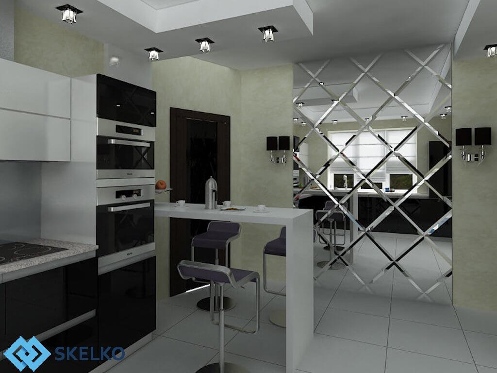 Зеркальное панно на кухне