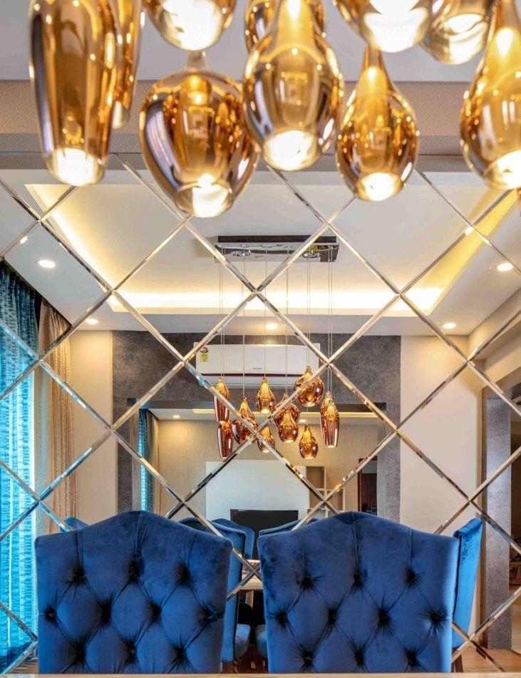 Декоративные зеркала №6: зеркальная стена со скошенной кромкой (фацетом)